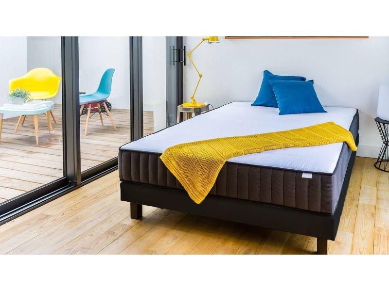 ensemble matelas m moire sommier 90x190 memo zen hbedding mousse haute densit m moire de. Black Bedroom Furniture Sets. Home Design Ideas
