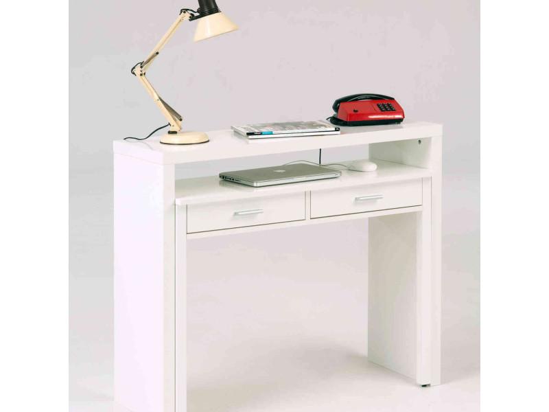Bureau 2 tiroirs coulissant en bois blanc laqué - bu002