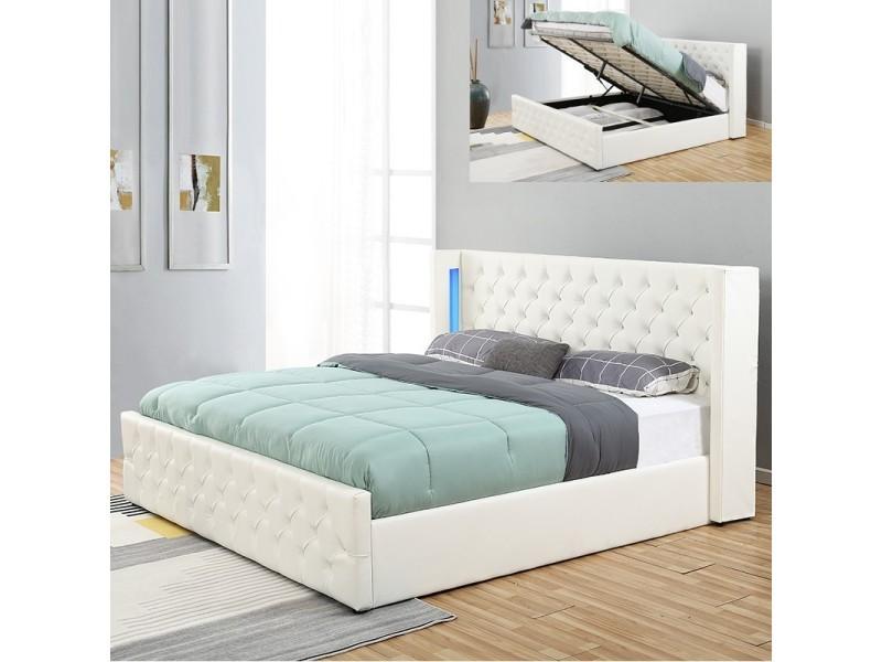 Lit Coffre Design Avec Led Osmos Blanc 160x200 Vente De Lit Adulte Conforama