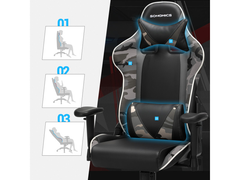 Songmics fauteuil gamer, chaise gaming, fauteuil de bureau ...