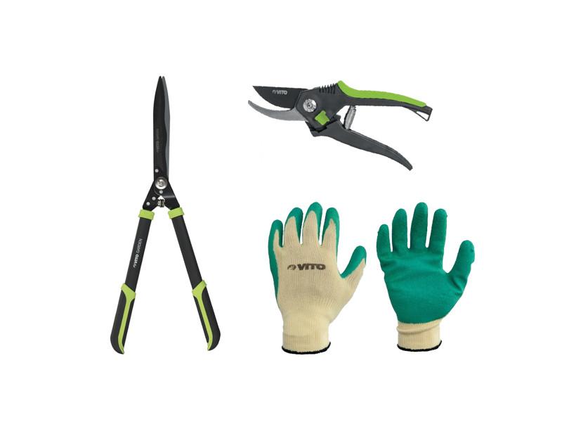 Pack vito agro cisaille à haie 27,5 cm + gants de jardin + sécateur 20 cm pack complet vito agro