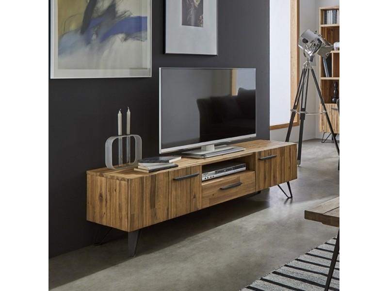 Meuble de tv en bois acacia massif 160x42 3tiroirs par zendart selection