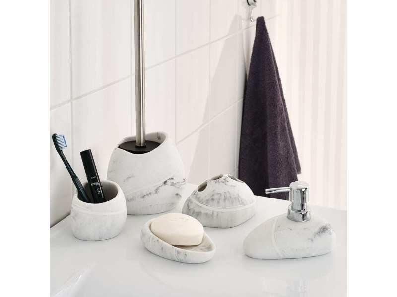 Ridder brosse et porte-brosse de toilette little rock blanc 429732