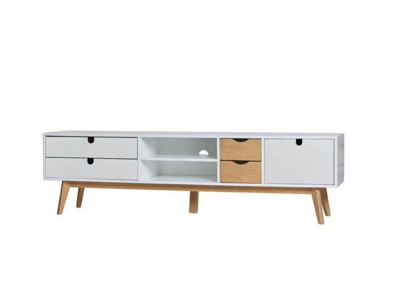 Bobochic meuble tv 180 cm nils blanc et bois clair