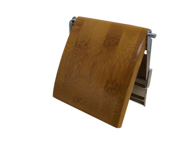 porte rouleau papier wc bois inox bambou 13 x 12 x 1 5 cm conforama