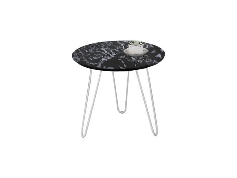 Table d'appoint ronde - plateau mdf noir marbré - elsa