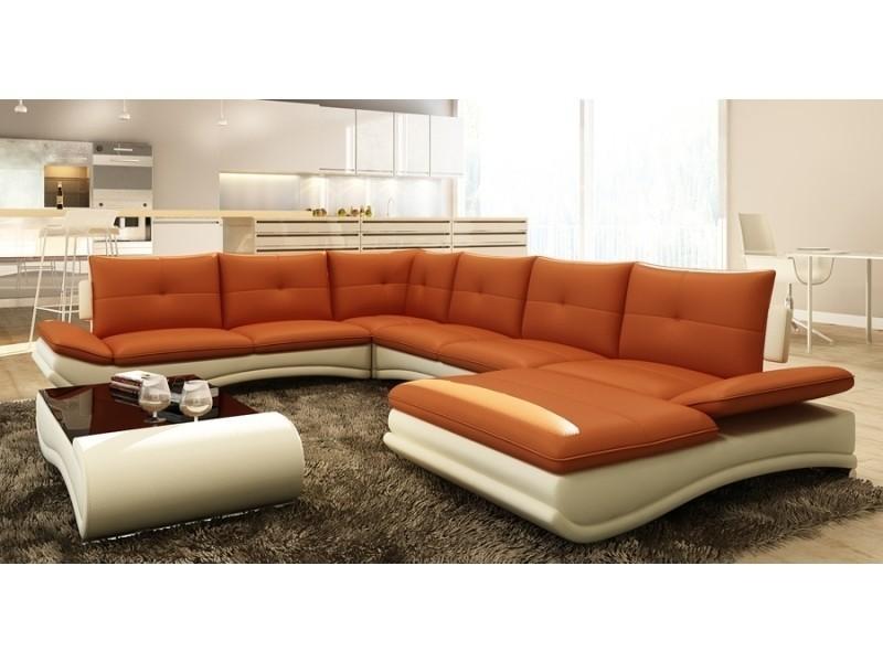 Canapé d'angle design panoramique orange et blanc mexico-