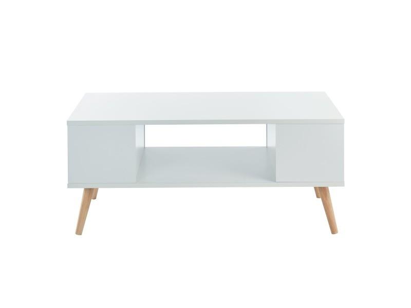 Table basse annette - style scandinave - blanc - l 90 cm ANNETTE02