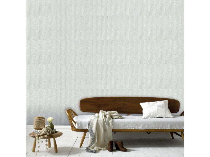 Papier peint intissé lin grainé 1005 x 52cm blanc 5325684