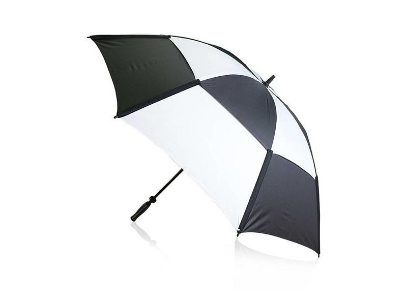 Parapluie de golf avec système anti-vent et étui (ø 135 cm) - parapluie original couleur - noir/blanc