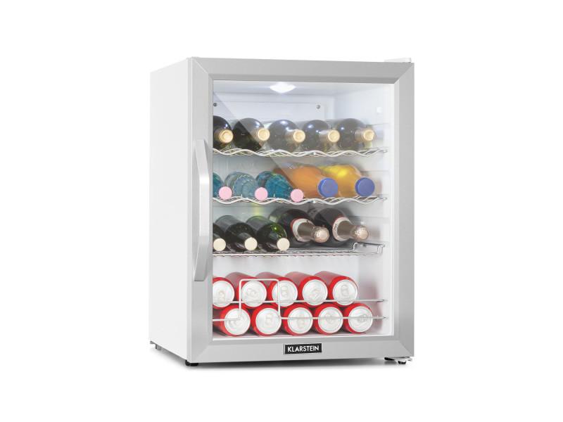 Klarstein beersafe xl crystal white réfrigérateur 60 litres , éclairage led , 42 db , porte en verre , classe a++ - blanc & argent HEA-Beersafe XL WSS