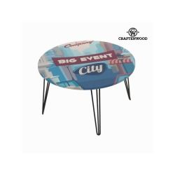 Table basse ronde city bleue by craften wood