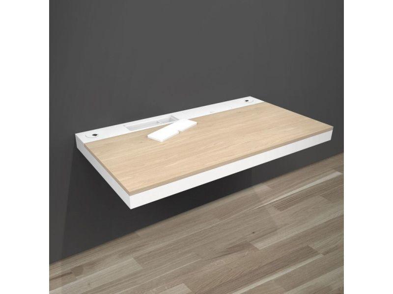 bureau mural bois blanc design 120 cm hang vente de mob in conforama. Black Bedroom Furniture Sets. Home Design Ideas