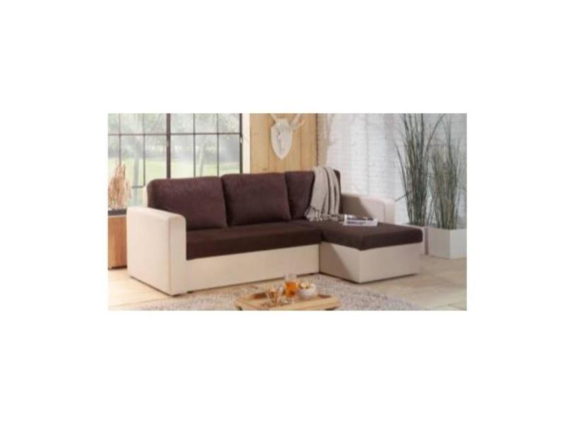Canapé d'angle convertible gigogne altus 140cm bi-matière chocolat et ivoire 20100865758