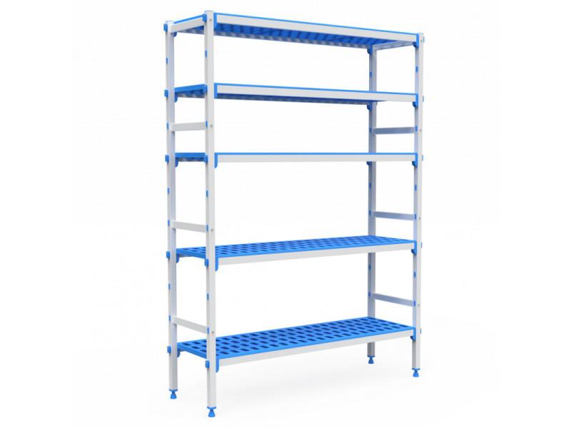 Rayonnage aluminium 5 niveaux compatible bac gn 1/1 - l 715 à 1950 mm - pujadas - 1480 mm