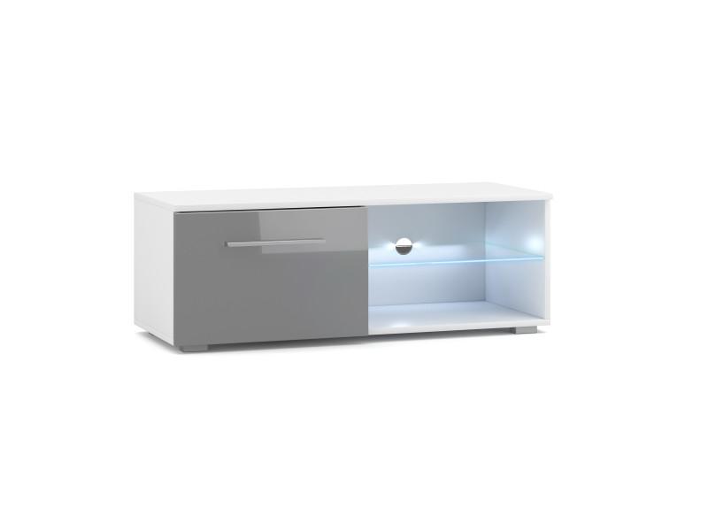 Meuble tv moderniste punes blanc / gris brillant 200 cm led