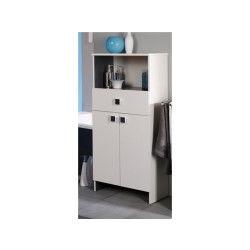 Meuble bas de salle de bain avec niche blanc et gris, h 121 x l 59 x p 31 cm -pegane-