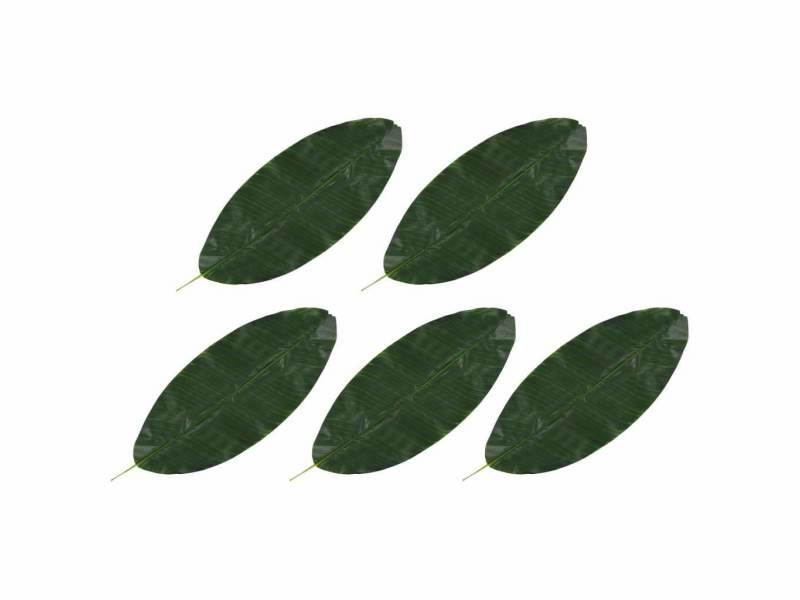 Lot de 5 feuilles artificielles de bananier vert 80 cm plastique dec021961