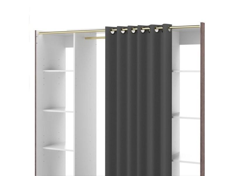 dressing extensible chica 2 colonnes blanc b ton avec. Black Bedroom Furniture Sets. Home Design Ideas