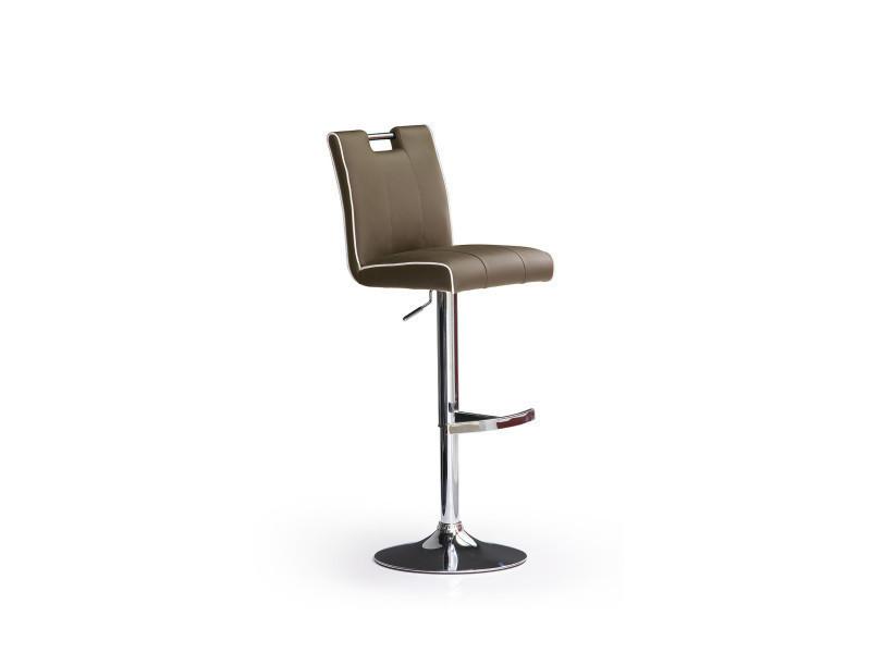 Tabouret de bar en pu socle rond en métal brossé, rotation 360° coloris cappuccino - dim : h 95-116 x 41 x 52 cm -pegane-