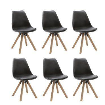 Set De 6 Chaises De Salle A Manger Design Simili Cuir Noir Pieds