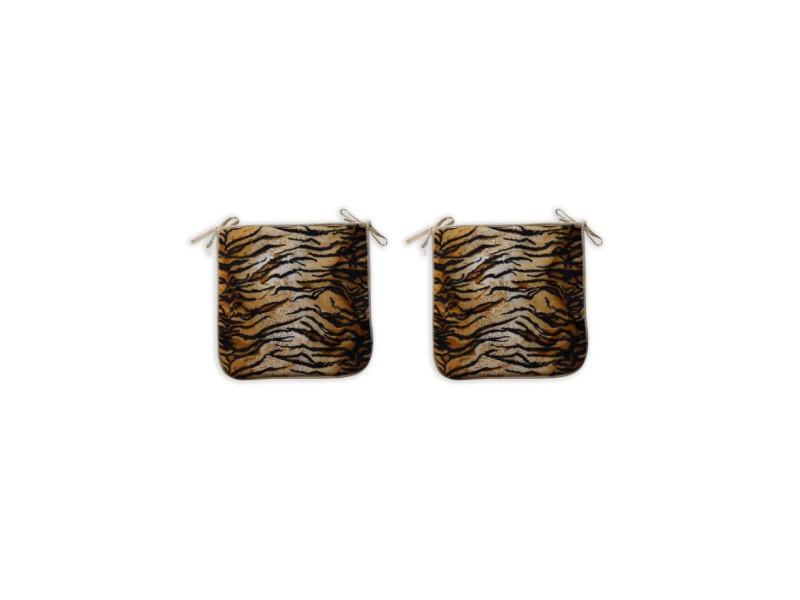 O'cbo lot de 2 galettes de chaise fourrure tigre 39x39 cm noir, creme et orange