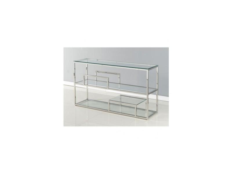 Console design verre et acier carat 140 cm