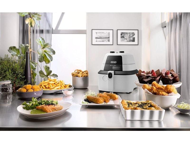 Friteuse électrique de 1kg avec thermostat ajustable 1400w noir blanc