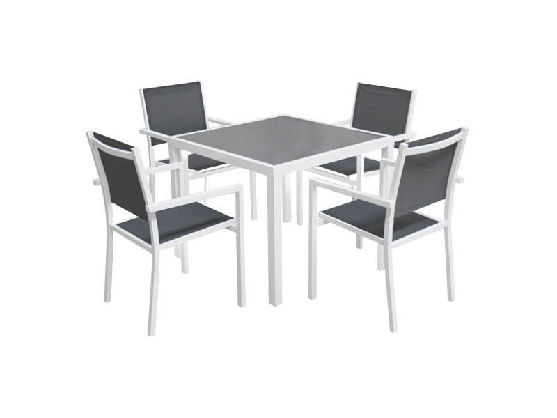 Salon de jardin bergamo en textilène gris 4 places - aluminium blanc