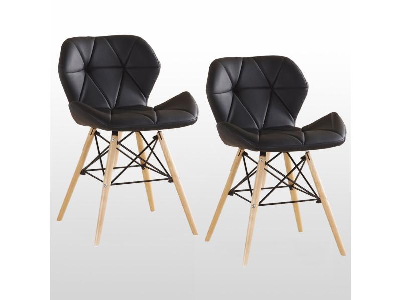 Lot de 2 chaises design en simili cuir noires - cecilia eiffel