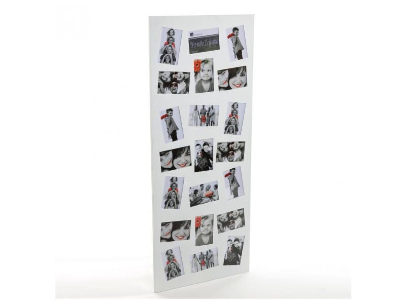 Pêle-mêle 21 photos - grand cadre multi photos - blanc