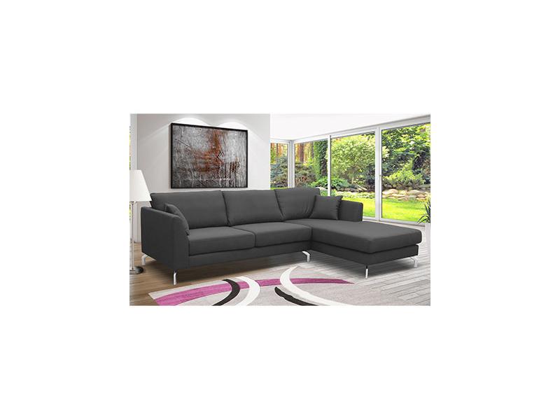 Canapé d'angle à droite en tissu gris - ines