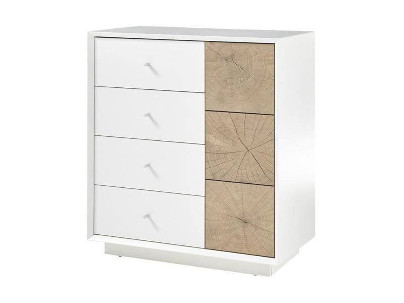 Commode markus laqué blanc mat et décor chêne 1 portes 3 tiroirs 20100890256