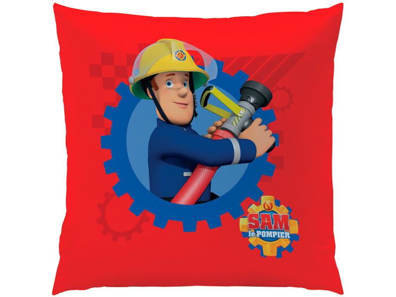 Coussin carré sam le pompier enveloppe 100% polyester vente de