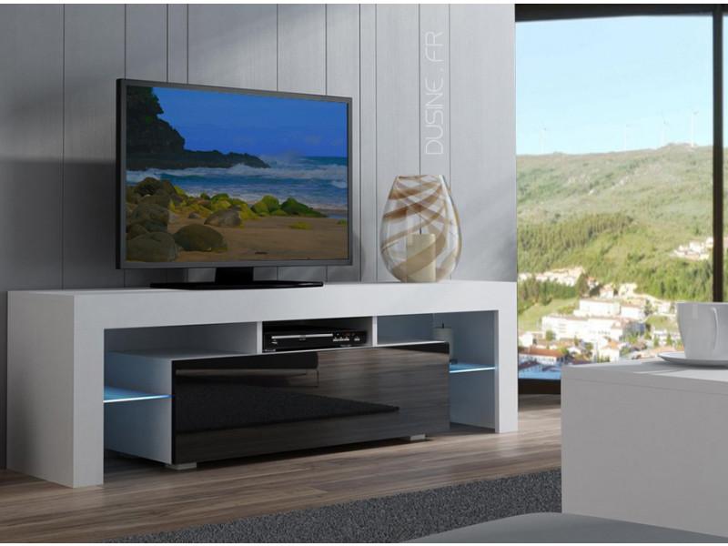 Meuble Tv Spider à Led En Blanc Mat Avec Porte Noir Laqué 160 Cm