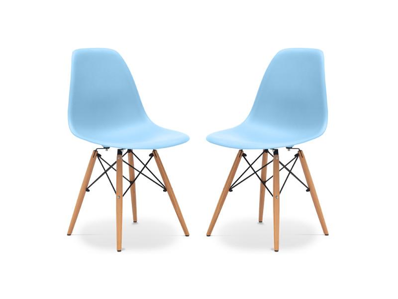 Pack de 2 chaises geneva polypropylène mat bleu clair