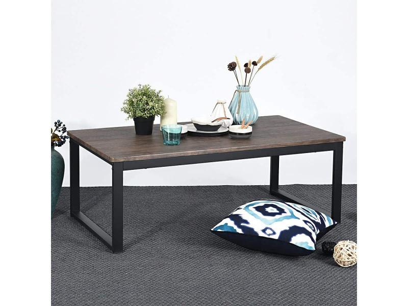 Table basse industrielle table de salon hombuy style industriel et armature de métal -110 x 60 x 42 cm