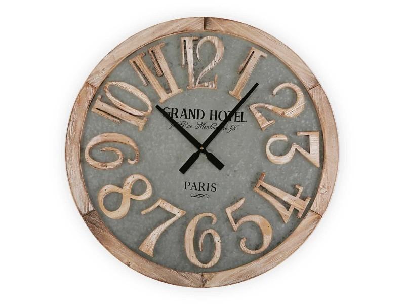 Horloge en bois et métal grand hotel 60 cm