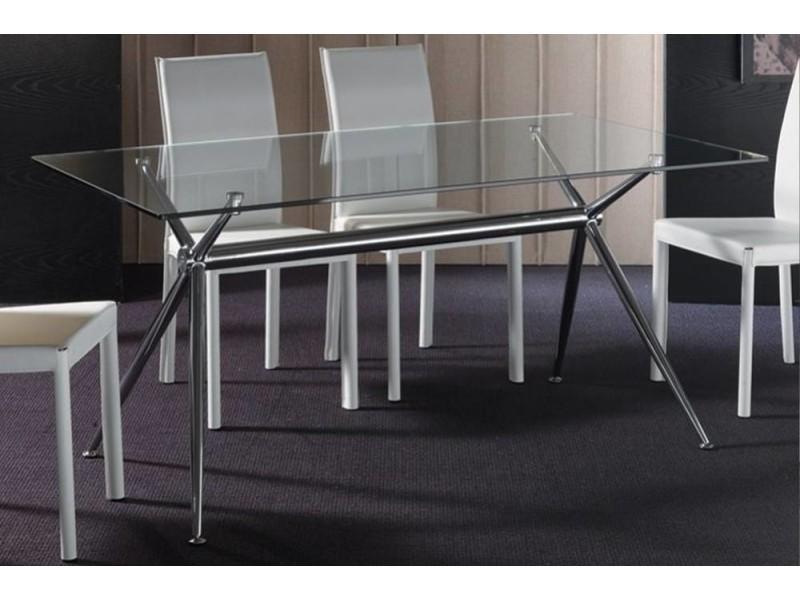 Table repas atene 180x90 en verre piétement acier chromé 20100850569