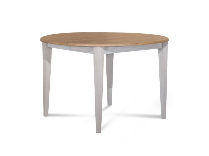 Table ronde pieds fuselés victoria - bois chêne blanc