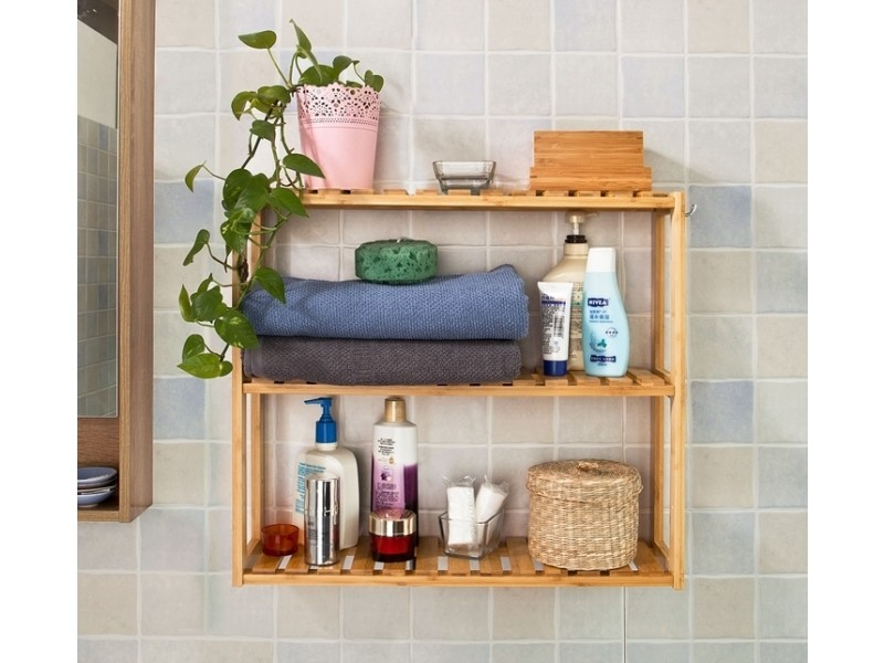 Etag re murale salle de bain toilettes en bambou meuble Salle de bain avec meuble cuisine