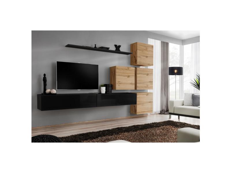 Ensemble mural - switch ix - 4 vitrines carrées - 2 bancs tv - 1 étagère - bois et noir - modèle 2