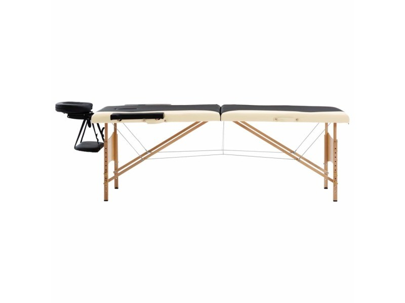Icaverne - tables de massage ensemble table de massage pliable 2 zones bois noir et beige