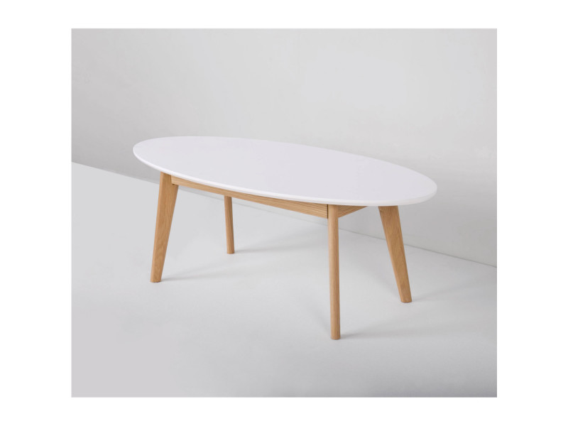 Table basse scandinave ovale skoll couleur blanc for Table basse scandinave couleur