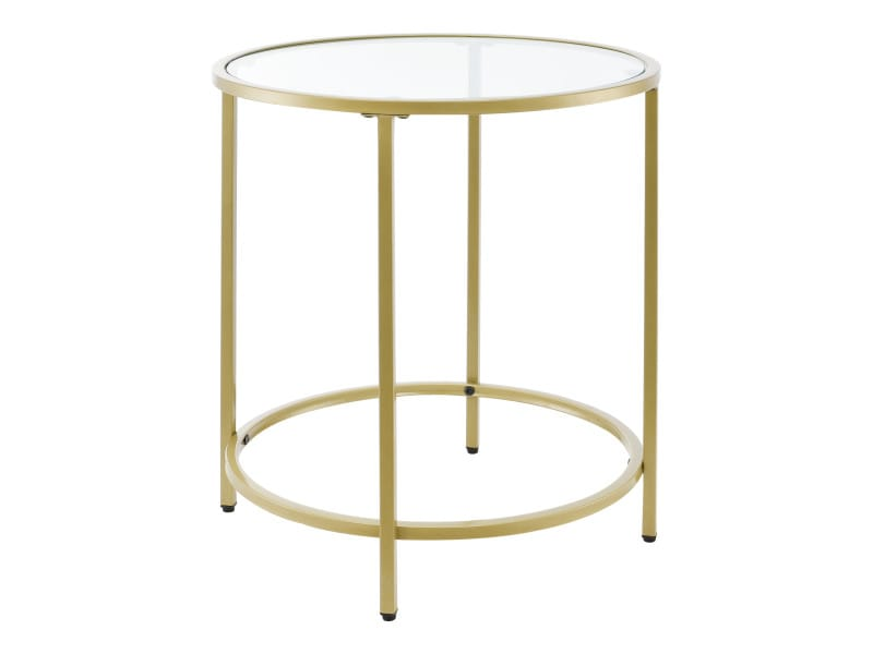 Table d'appoint pour salon table ronde design bouts de canapé de salon plateau en verre pieds en acier 50 x 55 cm doré [en.casa]