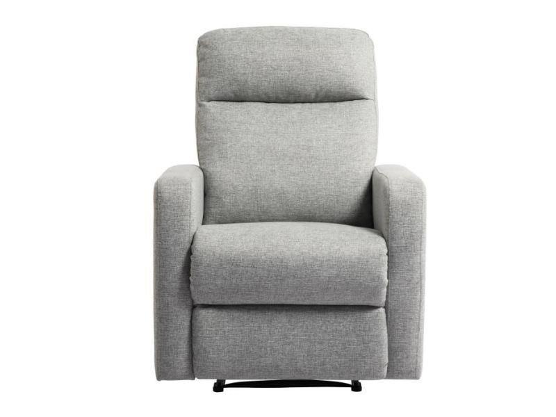 Fauteuil relax fauteuil de relaxation manuel tissu gris classique l 76 x p 88 cm