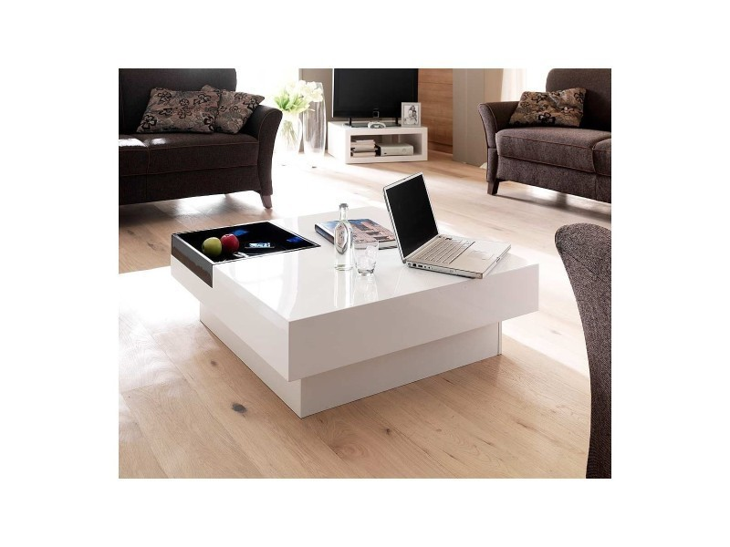 Table basse design blanc noir laqué magica vente de royale deco