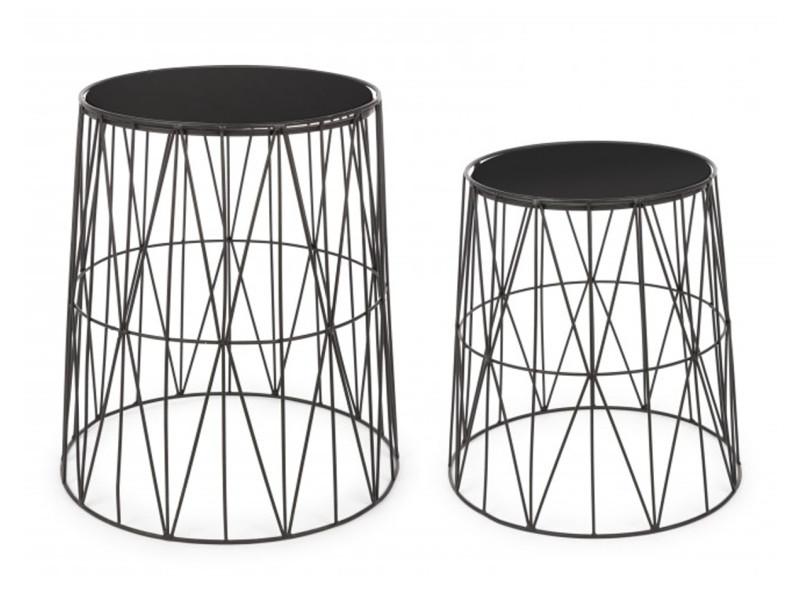 Set de 2 tables basses coloris noir en fer et verre - pegane -