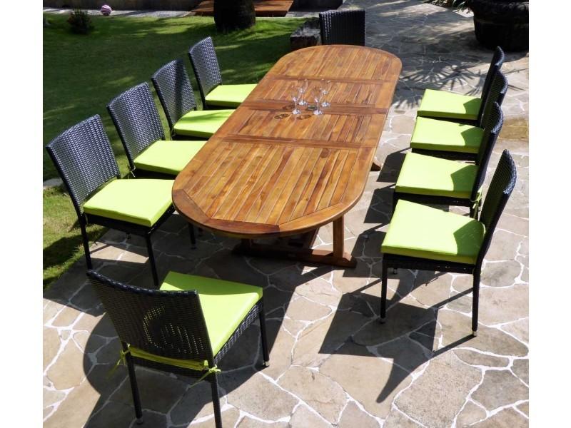 Salon de jardin en teck grande taille - 10 chaises résine ...