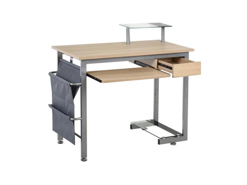 Bureau design polyvalent chêne clair et acier stockholm